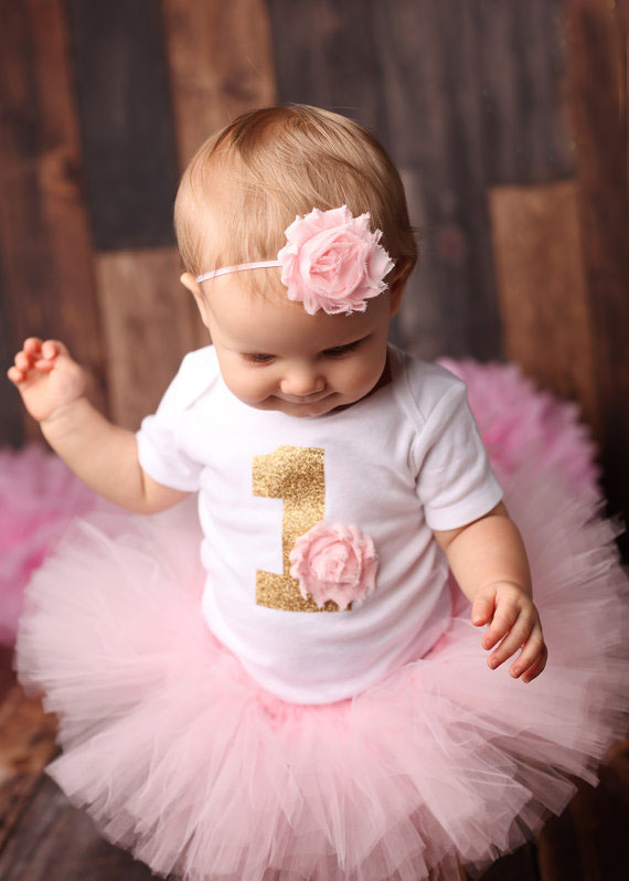 Baby Girl Birthday Party Dress Printed Onesie And Tutu Skirt Outfits